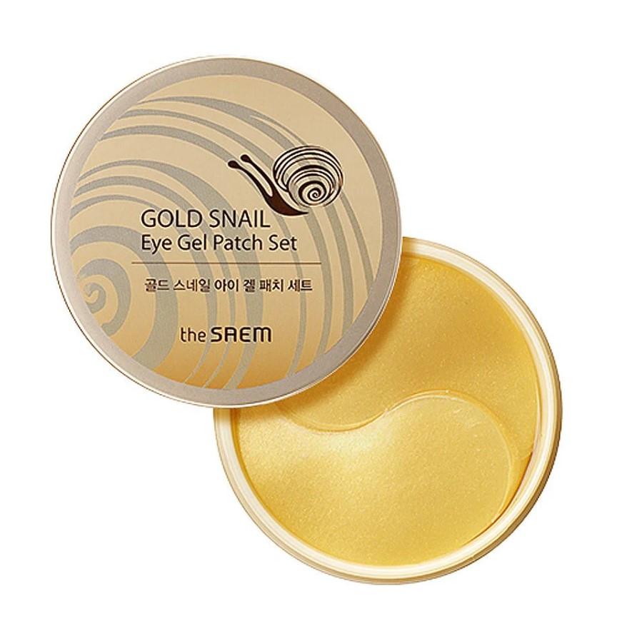 Гидрогелевые патчи для глаз с экстрактом муцина улитки и золотом The Saem Gold Snail Eye Gel Patch Set 60 шт