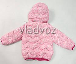Демисезонная куртка для девочки розовая сердечки 3-4 года , фото 2