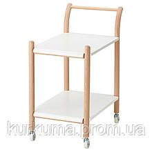 IKEA IKEAPS2017 Стол на колесиках, бук, белый  (703.340.57)