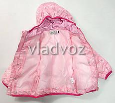 Демисезонная куртка для девочки розовая сердечки 4-5 лет, фото 3