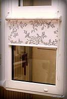 Рулонные шторы из тканей Китайская роза чёрный под заказ и под замеры
