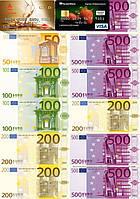 """Вафельна картинка на торт """"Гроші"""" А4 - 2 кредитки та євро різних номіналів"""