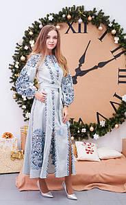 Довга лляна вишита сукня у бохо стилі  із блакитною вишивкою «Людмила»