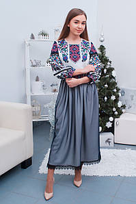 Вишита жіноча сукня із мереживом та пишними довгими рукавами «Анна»
