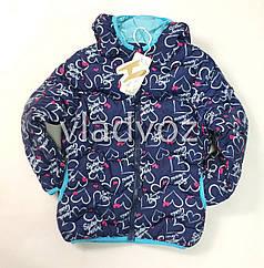 Демисезонная куртка для девочки синяя сердечки 3-4 года