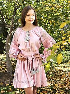 Коротка вишита сукня із льону у бохо-стилі «Дерево життя»