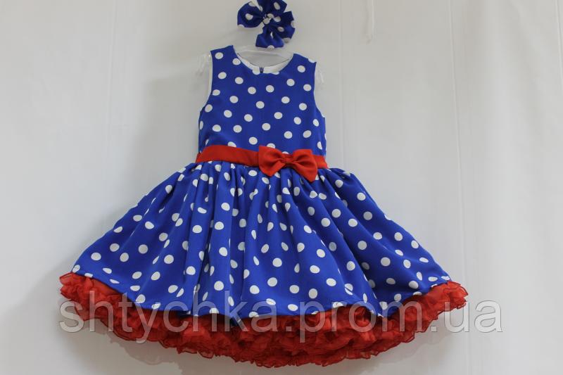 """Нарядное платье """"Стиляги"""" синее в белый горошек с 2-м красным подьюпником"""