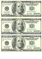 """Вафельна картинка на торт """"Гроші"""" А4 - 100 доларів (3 великі купюри)"""