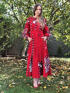 Вишита жіноча сукня максі червоного кольору у бохо стилі «Людмила»