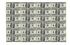 """Вафельна картинка на торт """"Гроші"""" А4 - 100 доларів (24 купюри)"""