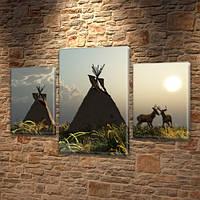 Модульная картина Вигвамы и олени, силуэты, на ПВХ ткани, 45х70 см, (30x20-2/45x25), Триптих
