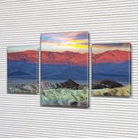 Модульная картина Горы Горный хребет Монголия, на ПВХ ткани, 45х70 см, (30x20-2/45x25), Триптих