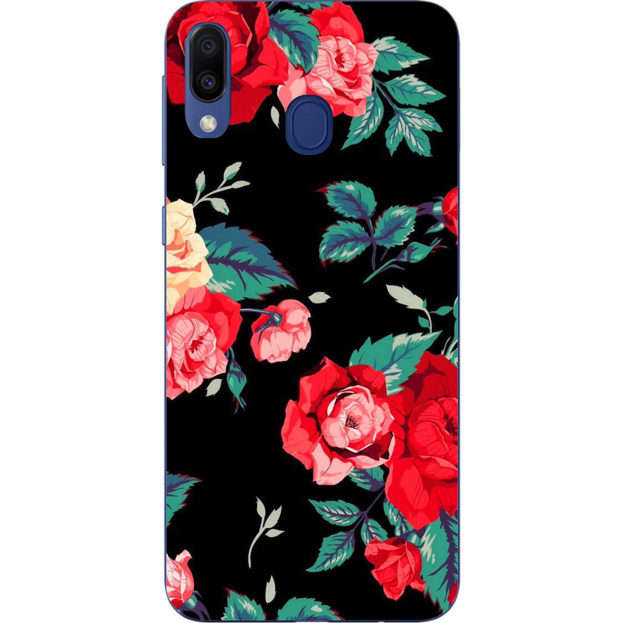 Силиконовый TPU чехол для Samsung Galaxy M20 с картинкой Розы на черном фоне