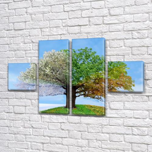 Модульная картина Дерево жизни Времена года, на ПВХ ткани, 45x80 см, (18x18-2/45х18-2), из 4 частей