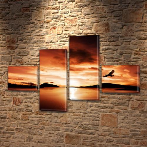 Модульная картина Орел в закате над горами, на ПВХ ткани, 60x85 см, (18x20-2/50х18-2), из 4 частей