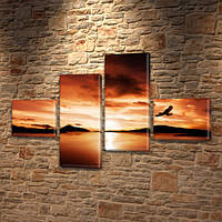 Модульная картина Орел в закате над горами, на ПВХ ткани, 60x85 см, (18x20-2/50х18-2), из 4 частей, фото 1