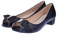 Туфли женские черные на широком каблуке Anna кожаная стелька, Черный, 41