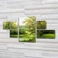 Модульная картина Зеленые берега реки, на ПВХ ткани, 60x110 см, (18x35-2/18х18-2/60x35), из 5 частей