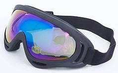 Очки тактические затемненный визор X-400-BK (пластик, акрил, цвет оправы - черный)