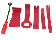 Инструменты для снятия обшивки (облицовки) авто (6 шт). Цвет красный