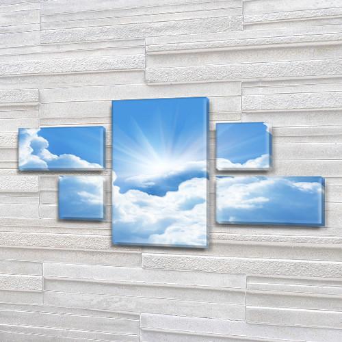 Модульная картина Облака голубое небо и солнце, на ПВХ ткани, 60x110 см, (18x35-2/18х18-2/60x35), из 5 частей