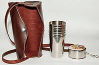 Набор металлических стопок 200 мл + складной стакан, рюмка из нержавеющей стали в чехле