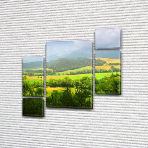 Модульная картина Сочная зеленая долина, на ПВХ ткани, 85x85 см, (40x20-2/18х20-2/65x40), из 5 частей