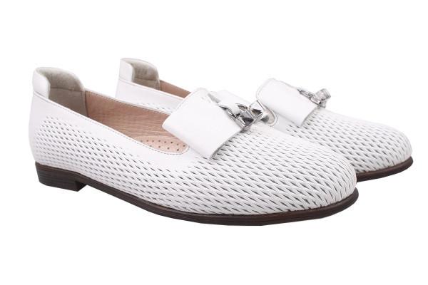 Туфли комфорт, балетки женские без каблука Ripka натуральной кожи, цвет белый