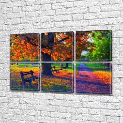 Модульная картина Радужная дорога, осень, на ПВХ ткани, 52x80 см, (25x25-6), из 6 частей