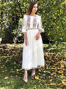 Ніжна жіноча вишита сукня на свято у білому кольорі «Лілія»