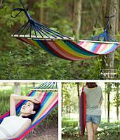 Гамак подвесной лен 2х1,2м, гамак тканевый для туризма и дачи