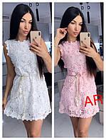 Женское платье из набивного кружева с жемчугом в расцветках. АР-57-0319