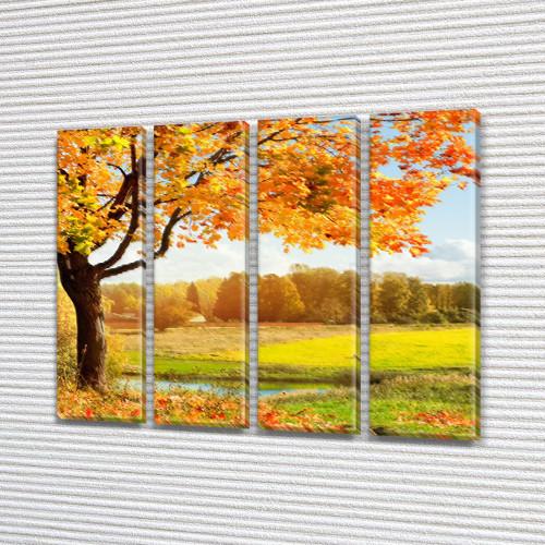 Модульная картина Дерево с желтыми листьями, осень, на ПВХ ткани, 65x80 см, (65x18-4), из 4 частей