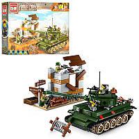 Конструктор копия лего WW2 ( world war 2 - Вторая мировая война) - военнаябаза и танк, BRICK 1711