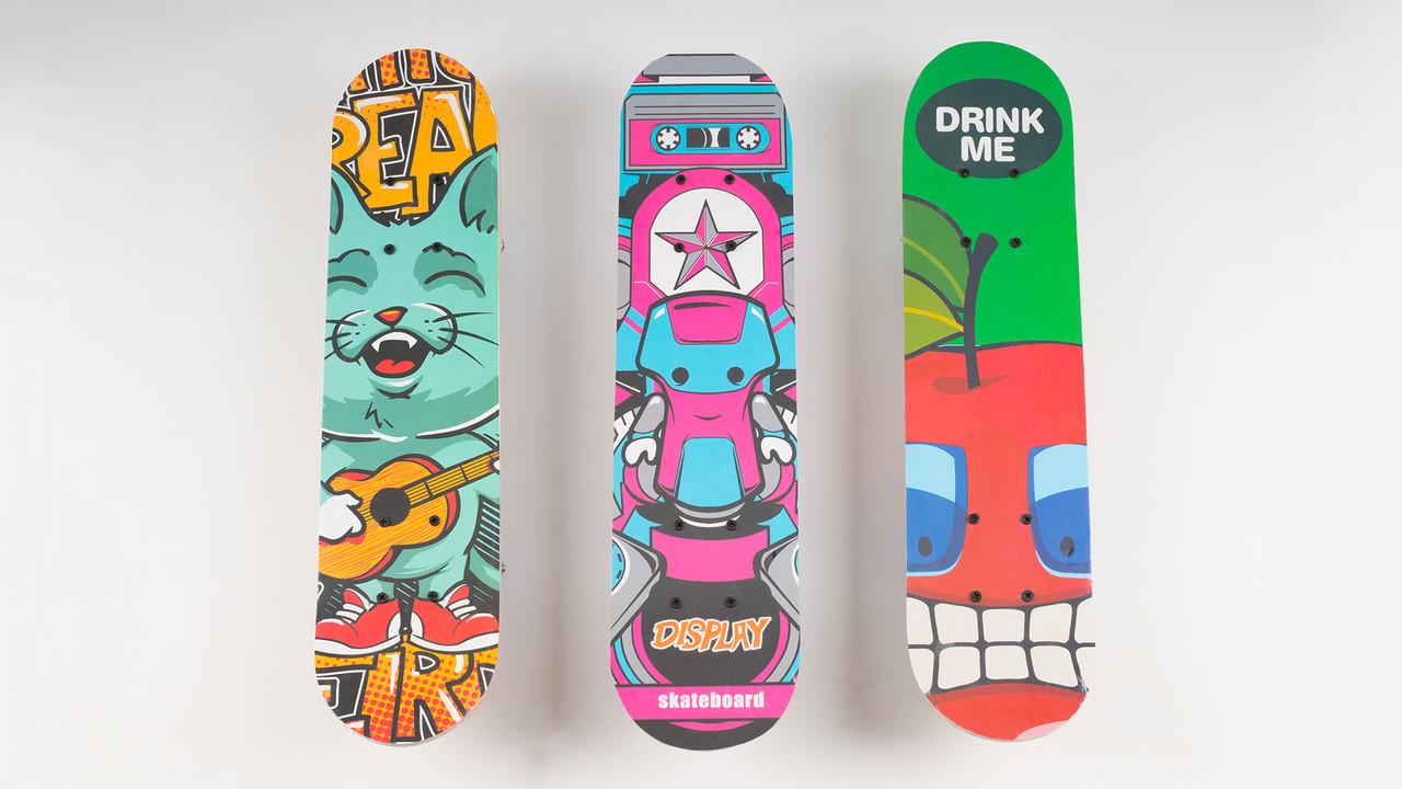 Скейт деревянный с пластиковой подвеской. 6 видов