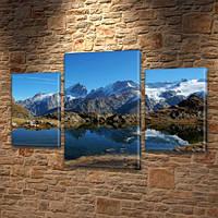 Модульная картина Горы Синие горы и горное озеро на Холсте син., 45х70 см, (30x20-2/45x25), Триптих