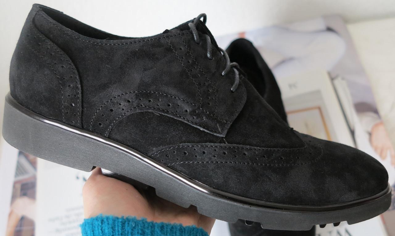 Timberland Oxford мужские черные замшевые туфли броги оксфорд реплика Тимберленд