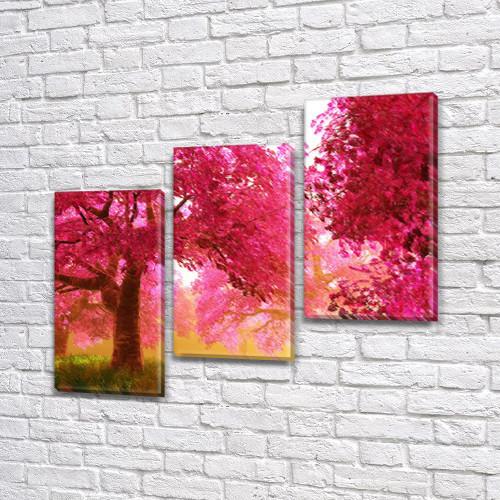 Модульная картина Розовые деревья Акварельное цветение на Холсте син., 70x80 см, (50x25-2/50х25), Триптих
