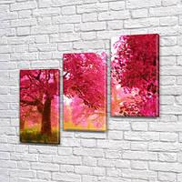 Модульная картина Розовые деревья Акварельное цветение на Холсте син., 70x80 см, (50x25-2/50х25), Триптих, фото 1