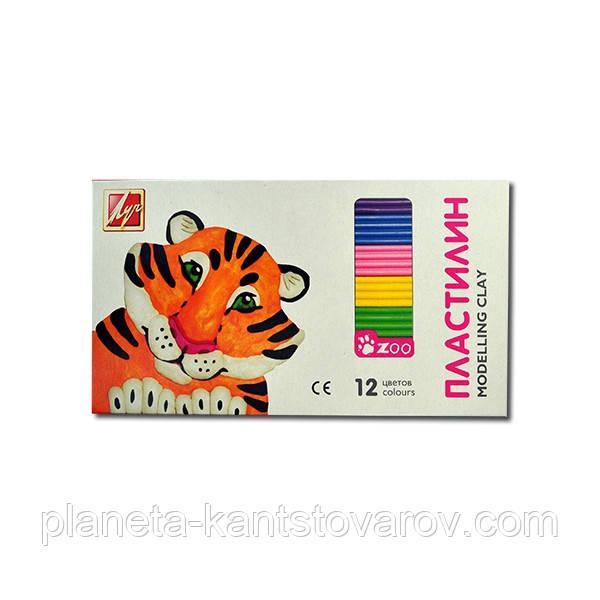 Пластилин Луч 12 цветов ZOO мини(162 грамм)