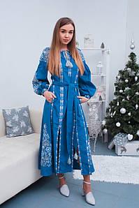 Красива вишита сукня з етнічним орнаментом блакитного кольору у бохо стилі «Аліна»