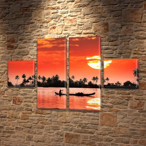 Модульная картина Тропический остров, закат и лодка на воде, 45x80 см, (18x18-2/45х18-2), из 4 частей
