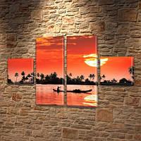 Модульная картина Тропический остров, закат и лодка на воде, 45x80 см, (18x18-2/45х18-2), из 4 частей, фото 1
