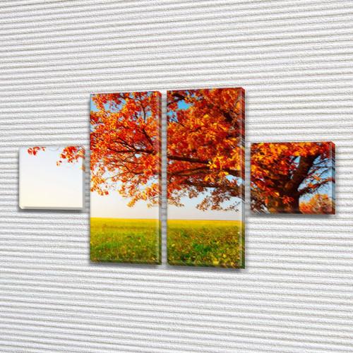 Модульная картина Оранжевое дерево, осенние листья, осень на Холсте син., 45x80 см, (18x18-2/45х18-2), из 4 частей