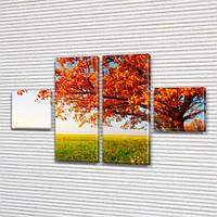 Модульная картина Оранжевое дерево, осенние листья, осень на Холсте син., 45x80 см, (18x18-2/45х18-2), из 4 частей, фото 1