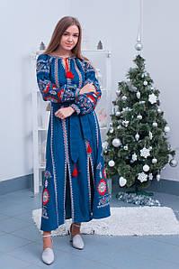 Яскрава вишита сукня із льону на довгий пишний рукав «Варвара»