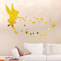 Декор интерьера зеркальный золотистые акриловые наклейки на стену Фея со звездами