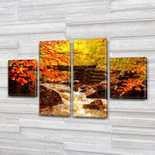 Модульная картина Бурная река и осень в лесу, на Холсте син., 50x80 см, (25x18-2/50х18-2), из 4 частей