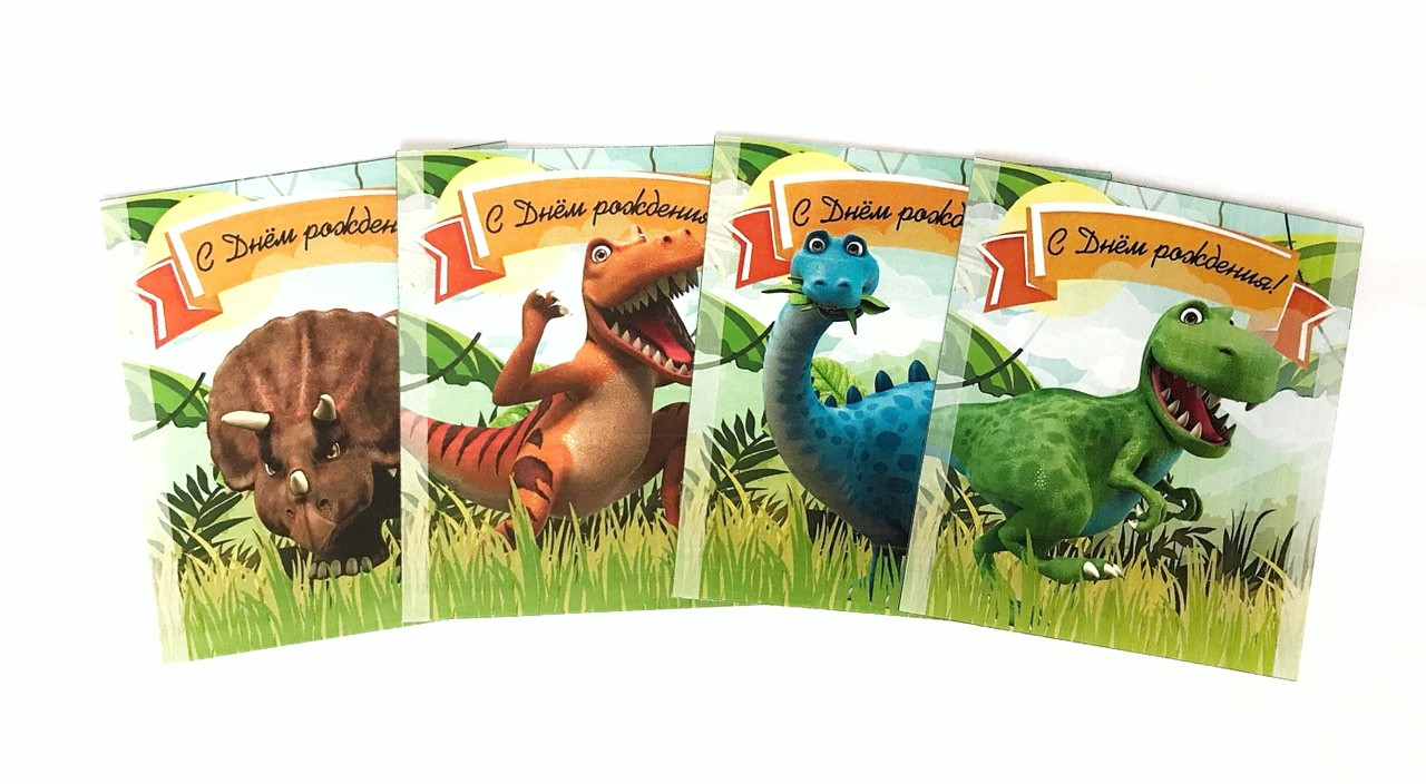 Наклейка на сік тетрапак 200мл 64х84мм Динозаври