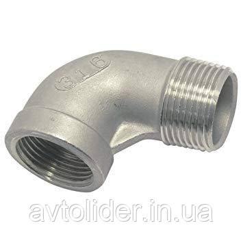 Коліно під 90 градусів з нержавіючої сталі AISI 316 (А4) з зовнішньою і внутрішньою різьбою